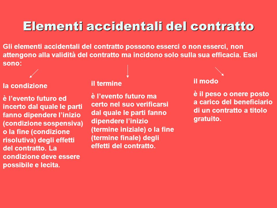 Elementi accidentali del contratto