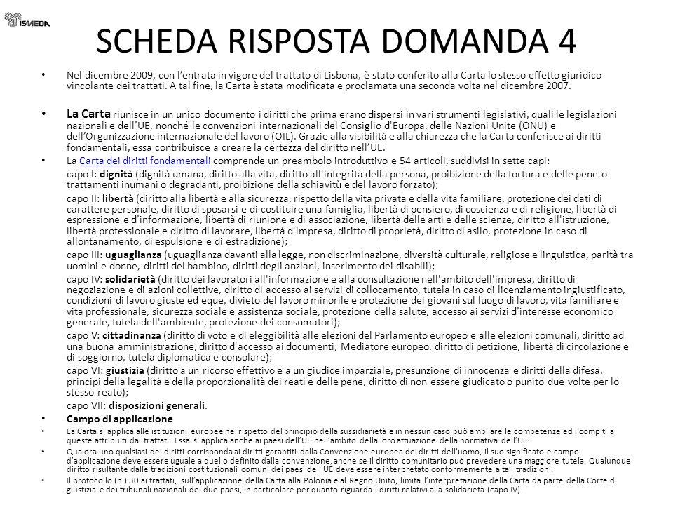 SCHEDA RISPOSTA DOMANDA 4