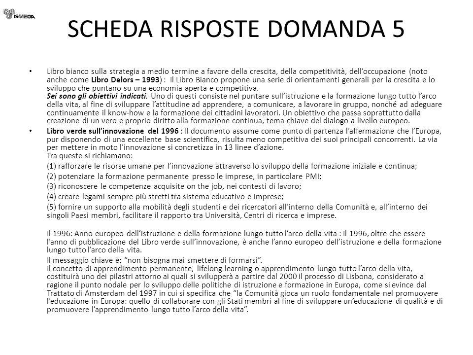 SCHEDA RISPOSTE DOMANDA 5