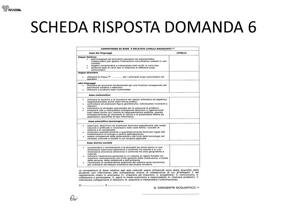SCHEDA RISPOSTA DOMANDA 6