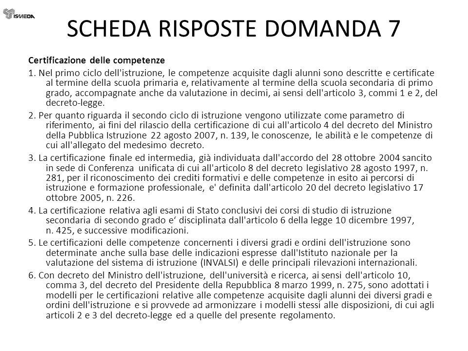 SCHEDA RISPOSTE DOMANDA 7