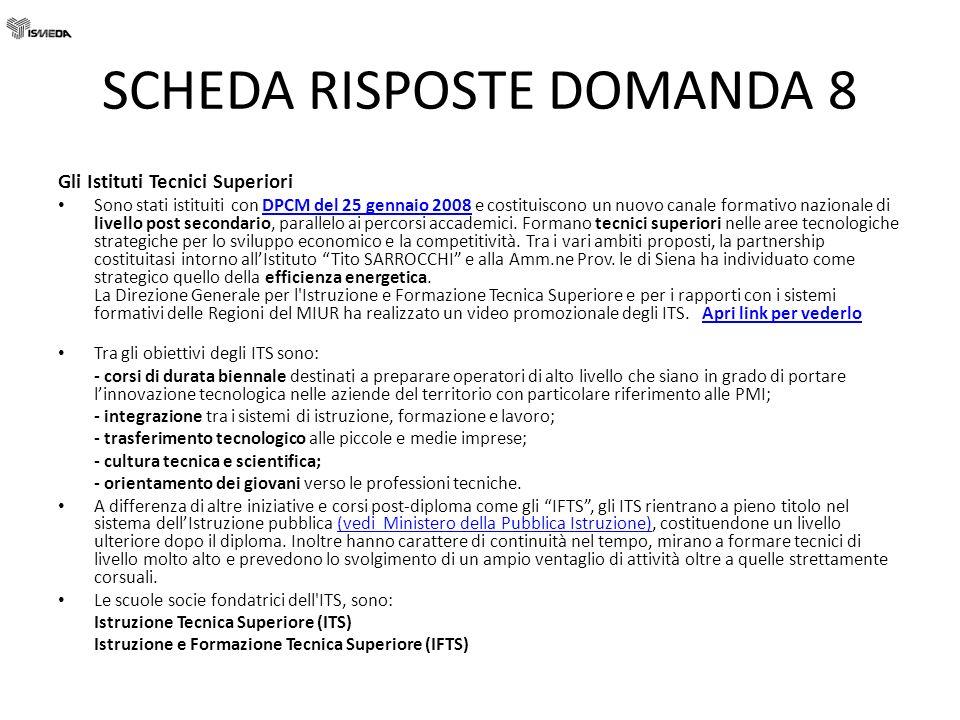 SCHEDA RISPOSTE DOMANDA 8