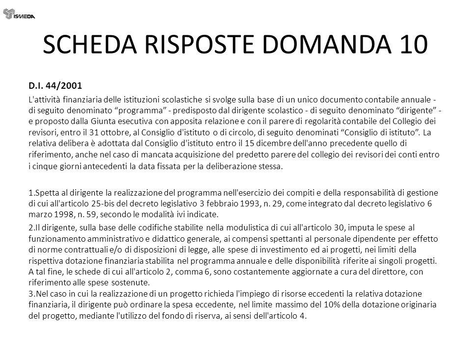 SCHEDA RISPOSTE DOMANDA 10
