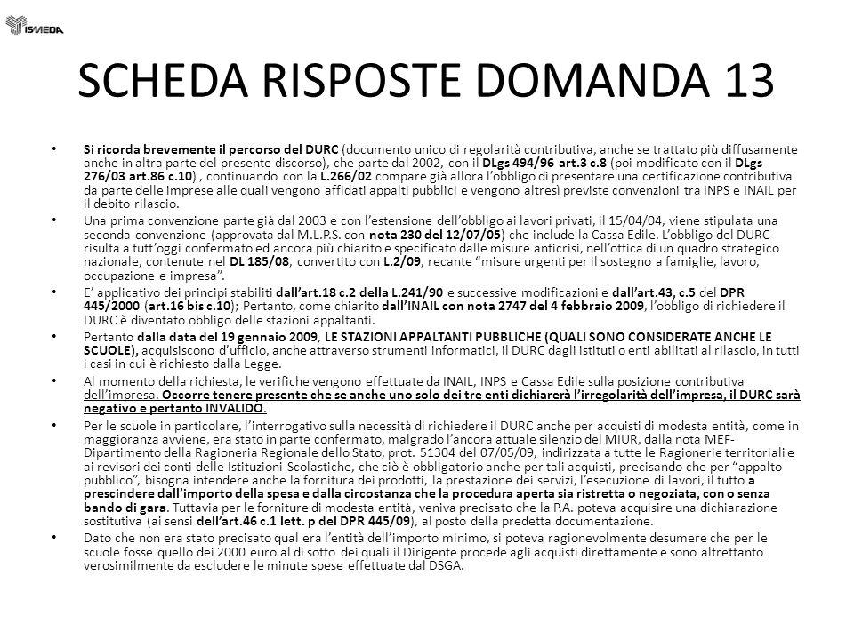 SCHEDA RISPOSTE DOMANDA 13