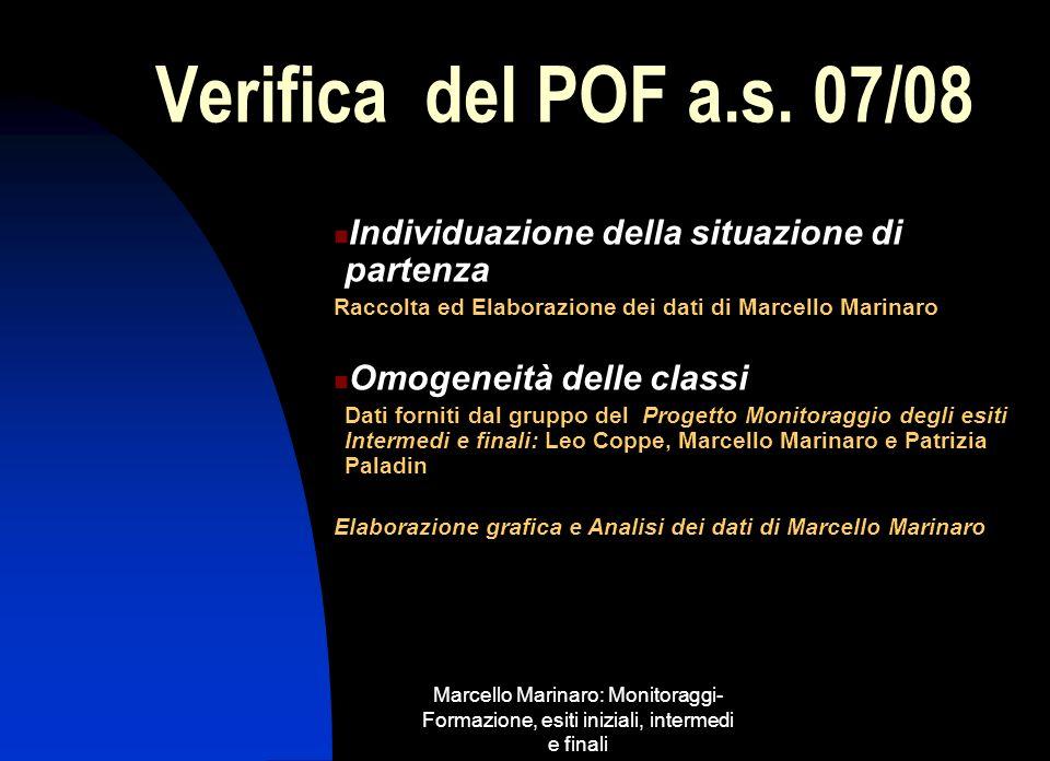Verifica del POF a.s. 07/08 Individuazione della situazione di partenza. Raccolta ed Elaborazione dei dati di Marcello Marinaro.