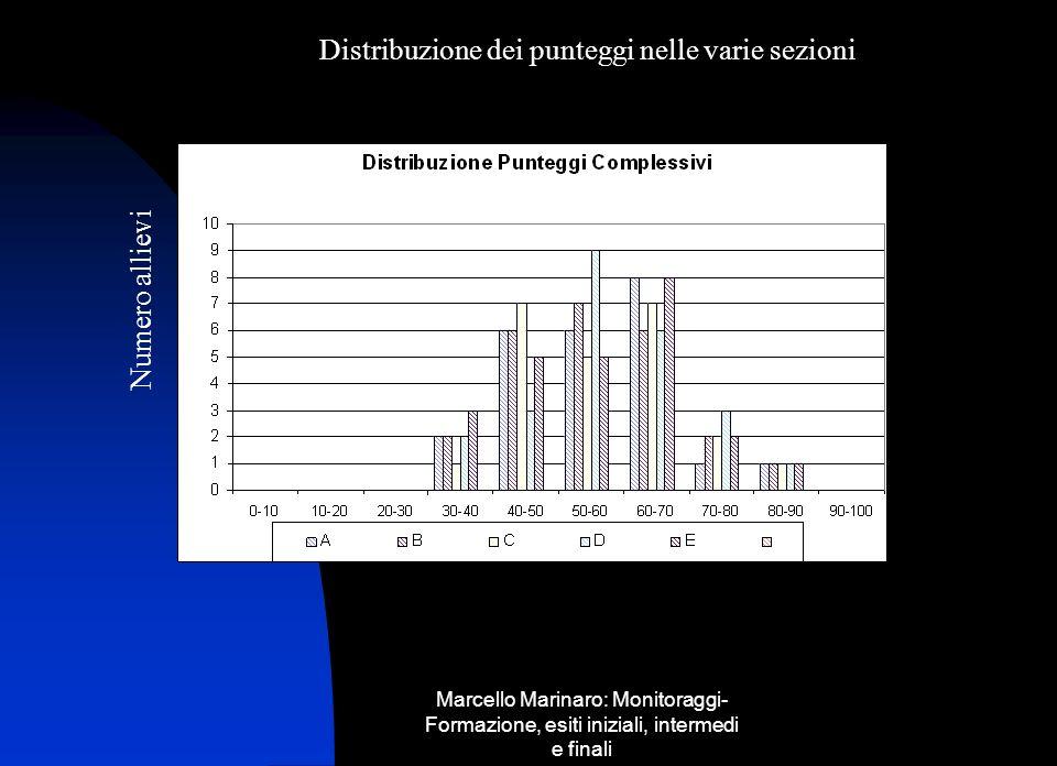 Distribuzione dei punteggi nelle varie sezioni