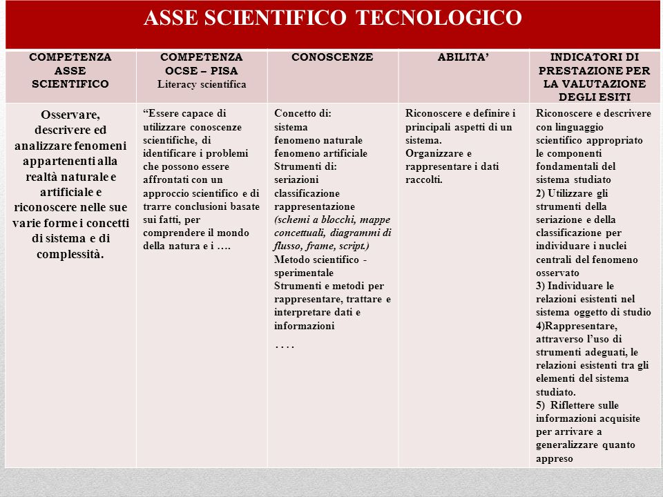 ASSE SCIENTIFICO TECNOLOGICO
