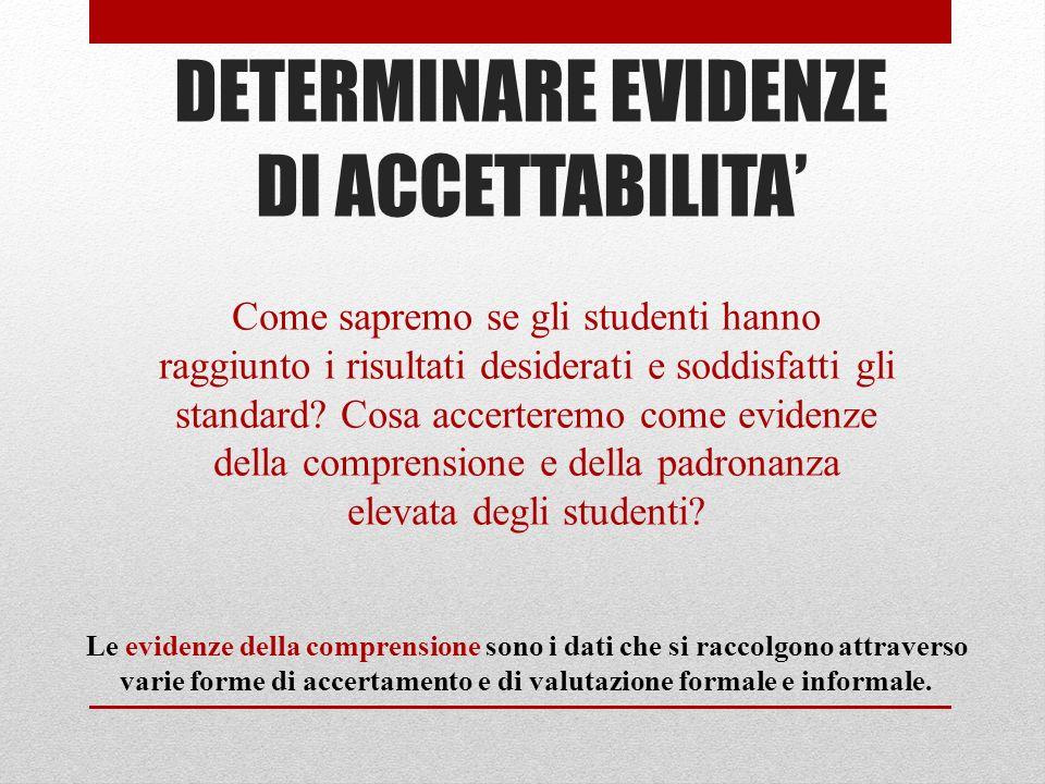 DETERMINARE EVIDENZE DI ACCETTABILITA'