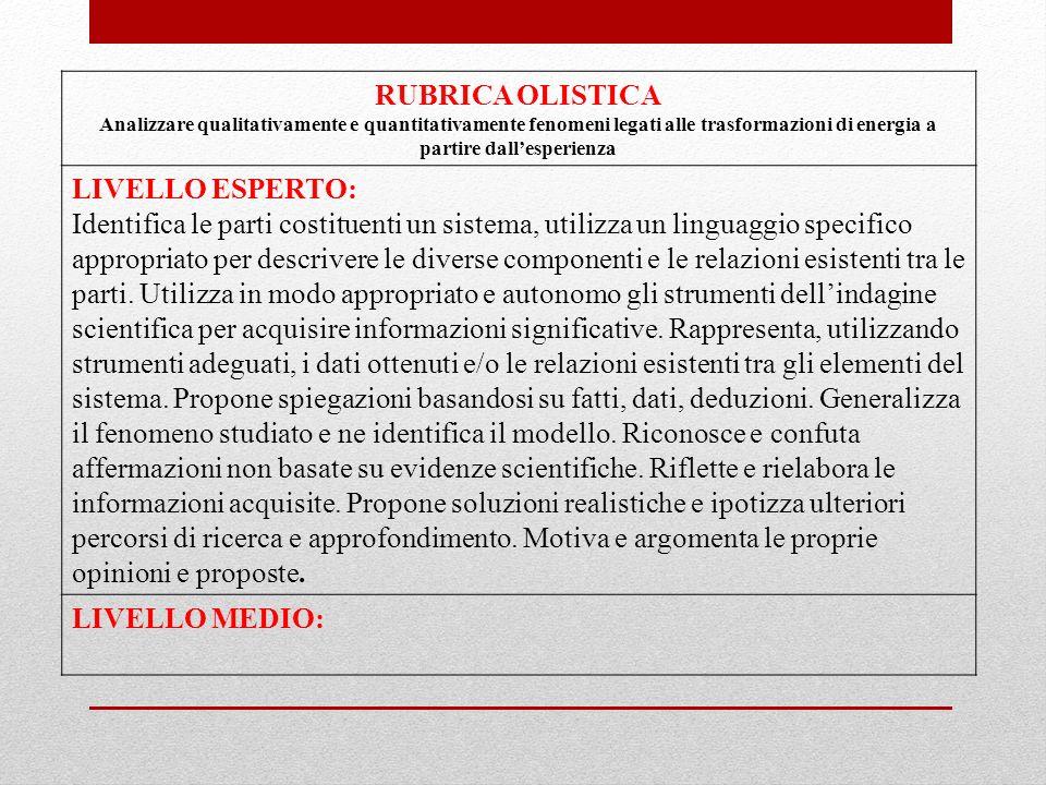 RUBRICA OLISTICA LIVELLO ESPERTO: