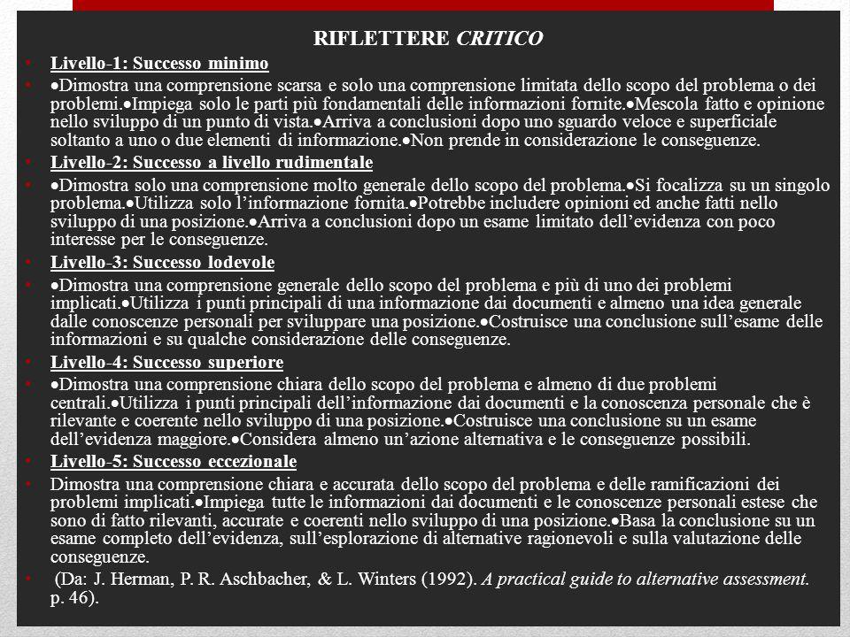 RIFLETTERE CRITICO Livello-1: Successo minimo