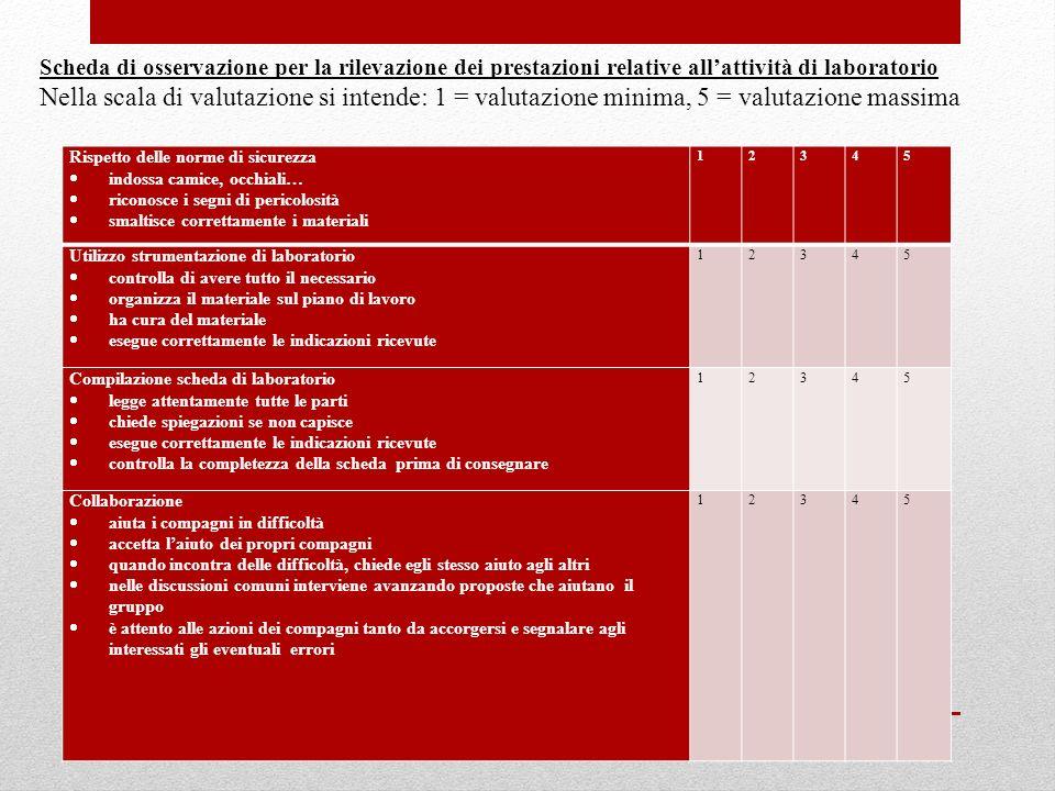 Scheda di osservazione per la rilevazione dei prestazioni relative all'attività di laboratorio