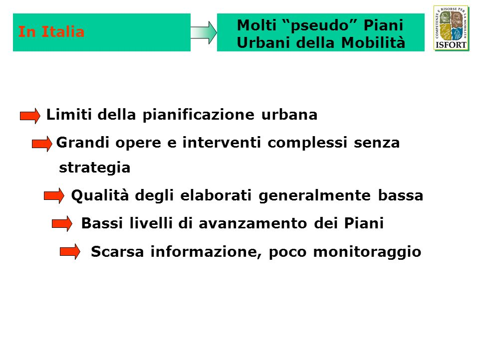 In Italia Molti pseudo Piani. Urbani della Mobilità. Limiti della pianificazione urbana. Grandi opere e interventi complessi senza strategia.