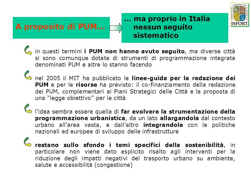 A proposito di PUM… … ma proprio in Italia nessun seguito sistematico