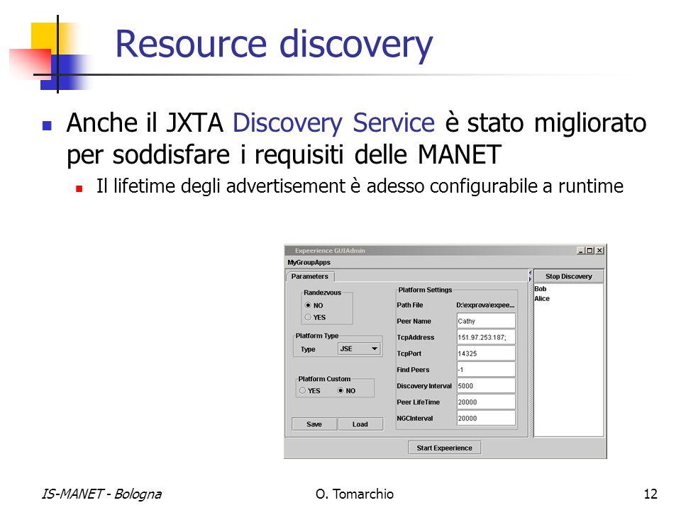Resource discovery Anche il JXTA Discovery Service è stato migliorato per soddisfare i requisiti delle MANET.