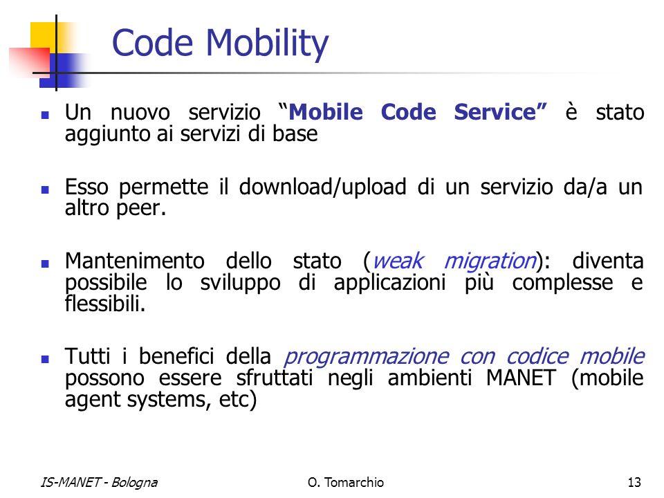 Code Mobility Un nuovo servizio Mobile Code Service è stato aggiunto ai servizi di base.