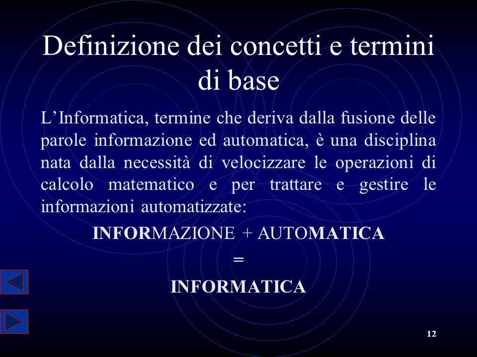 Definizione dei concetti e termini di base
