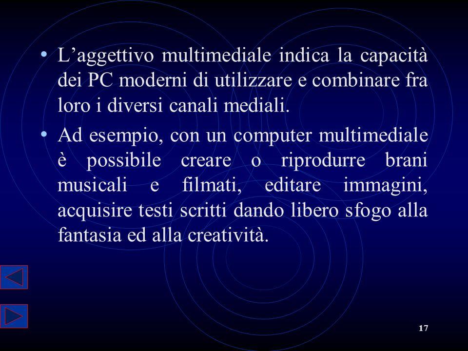 L'aggettivo multimediale indica la capacità dei PC moderni di utilizzare e combinare fra loro i diversi canali mediali.