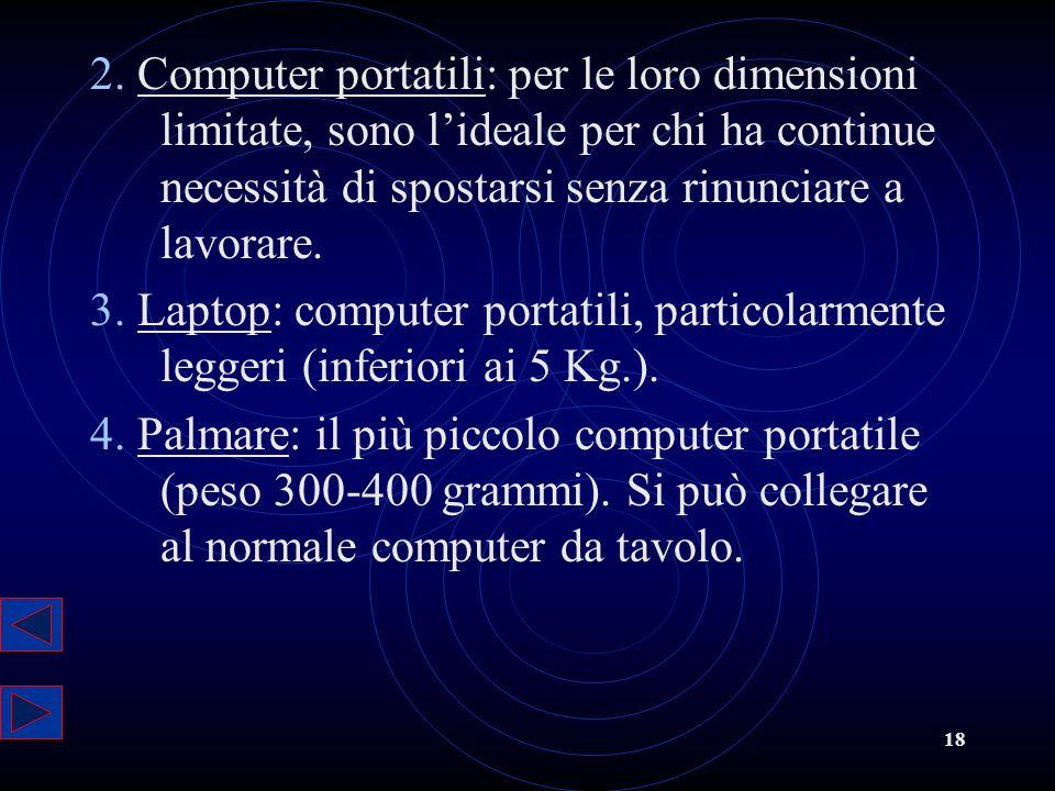 2. Computer portatili: per le loro dimensioni limitate, sono l'ideale per chi ha continue necessità di spostarsi senza rinunciare a lavorare.