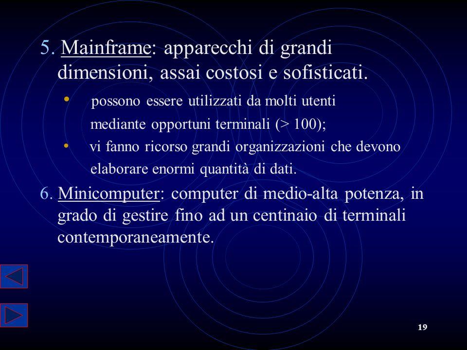 5. Mainframe: apparecchi di grandi dimensioni, assai costosi e sofisticati.