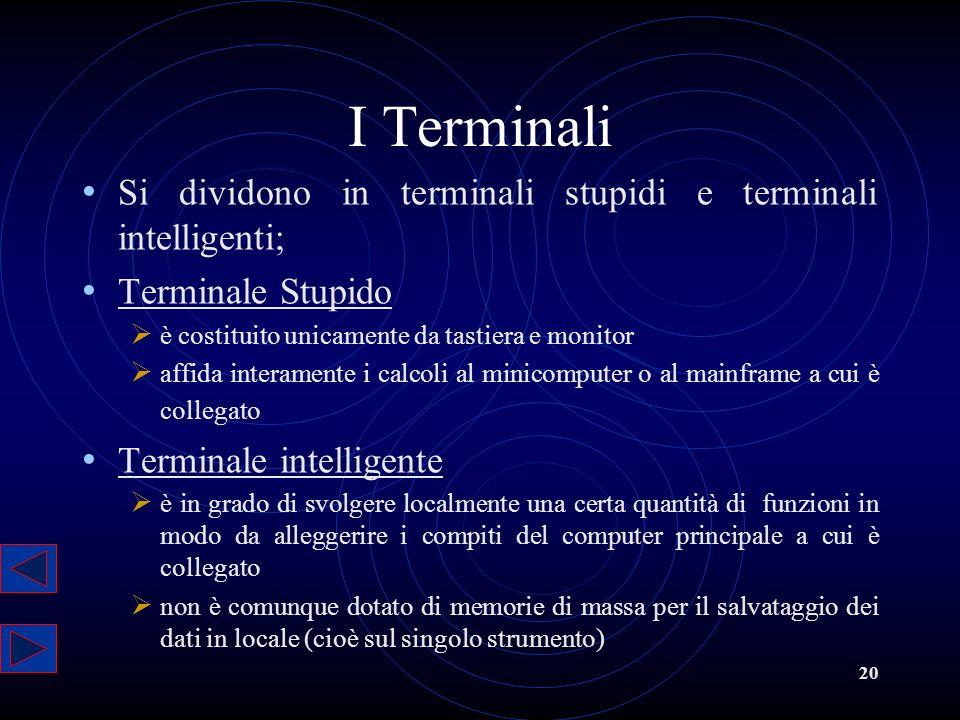 I Terminali Si dividono in terminali stupidi e terminali intelligenti;