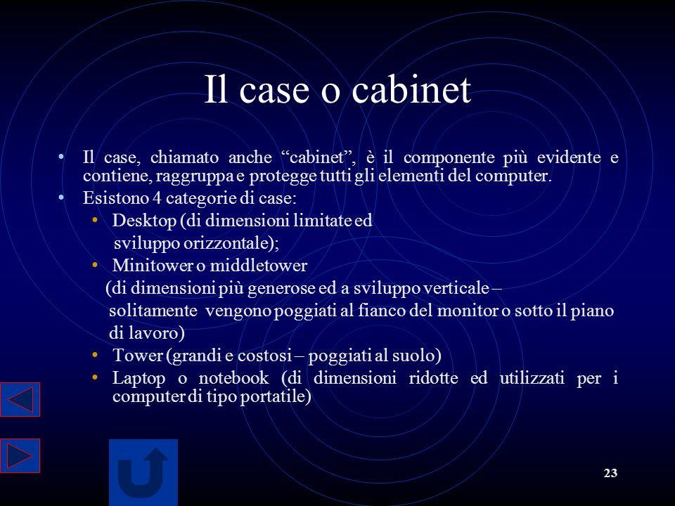 Il case o cabinet Il case, chiamato anche cabinet , è il componente più evidente e contiene, raggruppa e protegge tutti gli elementi del computer.