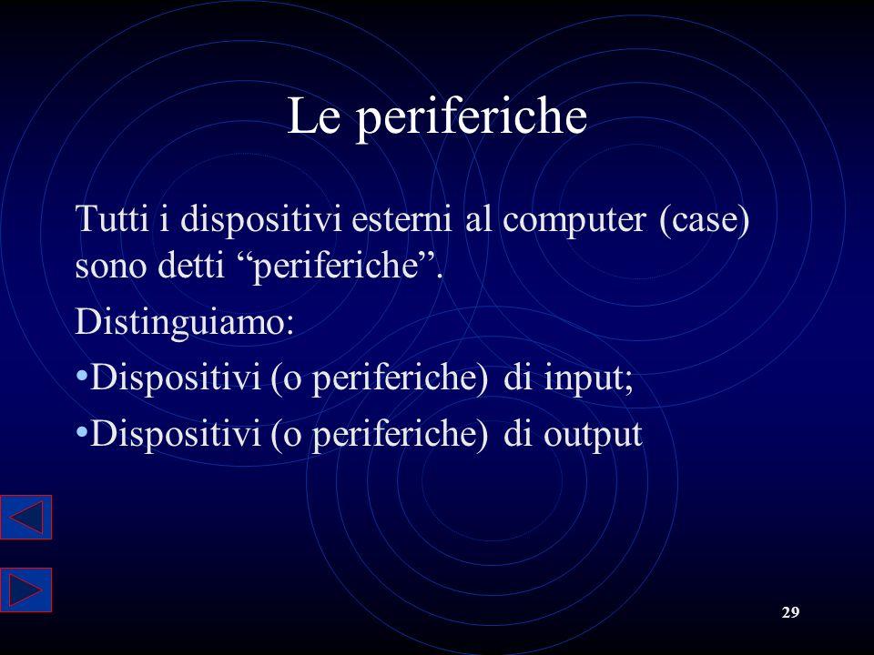 Le periferiche Tutti i dispositivi esterni al computer (case) sono detti periferiche . Distinguiamo:
