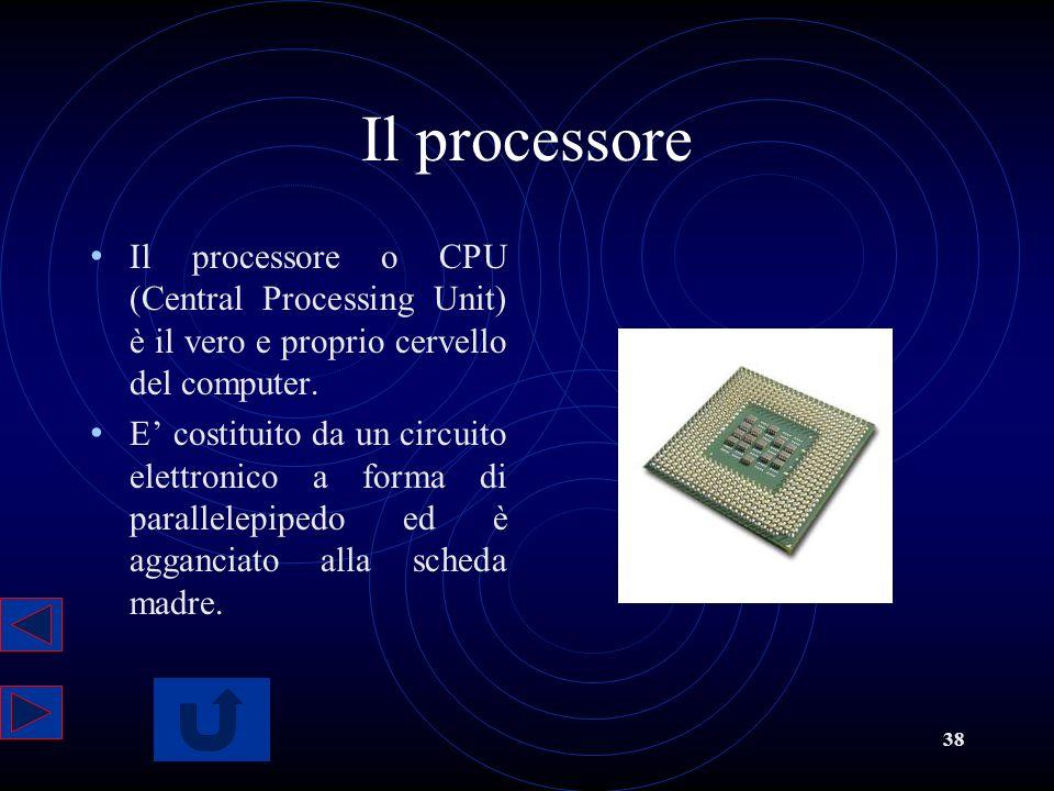 Il processore Il processore o CPU (Central Processing Unit) è il vero e proprio cervello del computer.