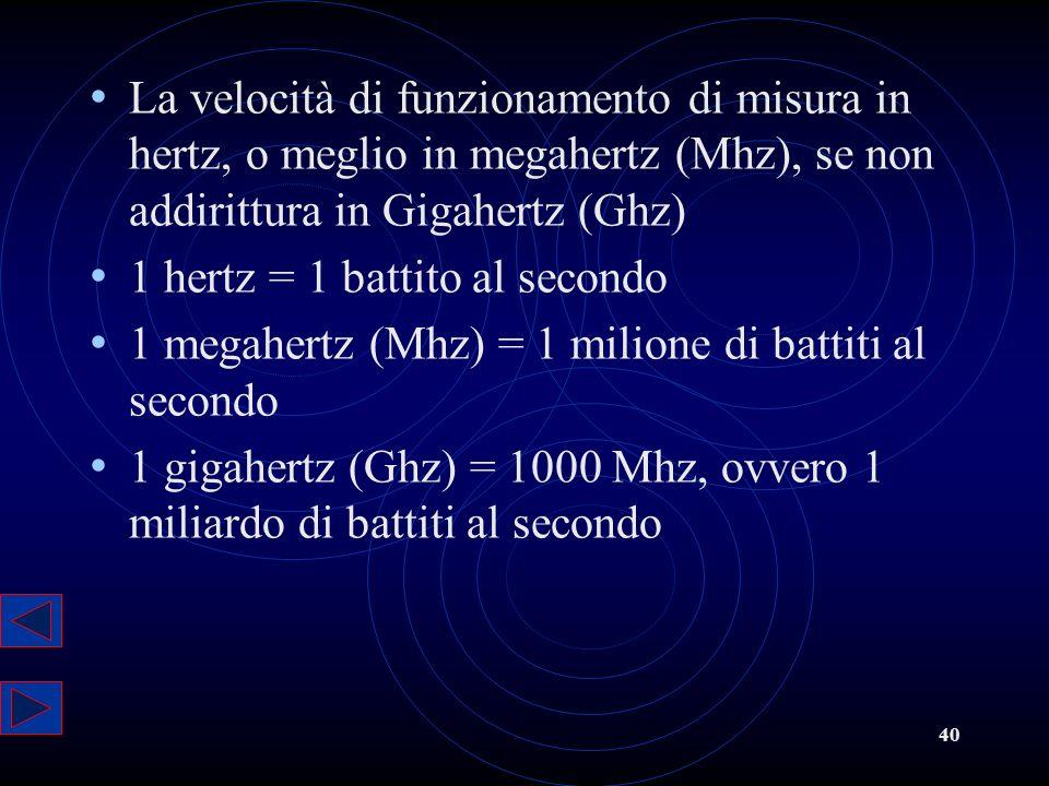 La velocità di funzionamento di misura in hertz, o meglio in megahertz (Mhz), se non addirittura in Gigahertz (Ghz)