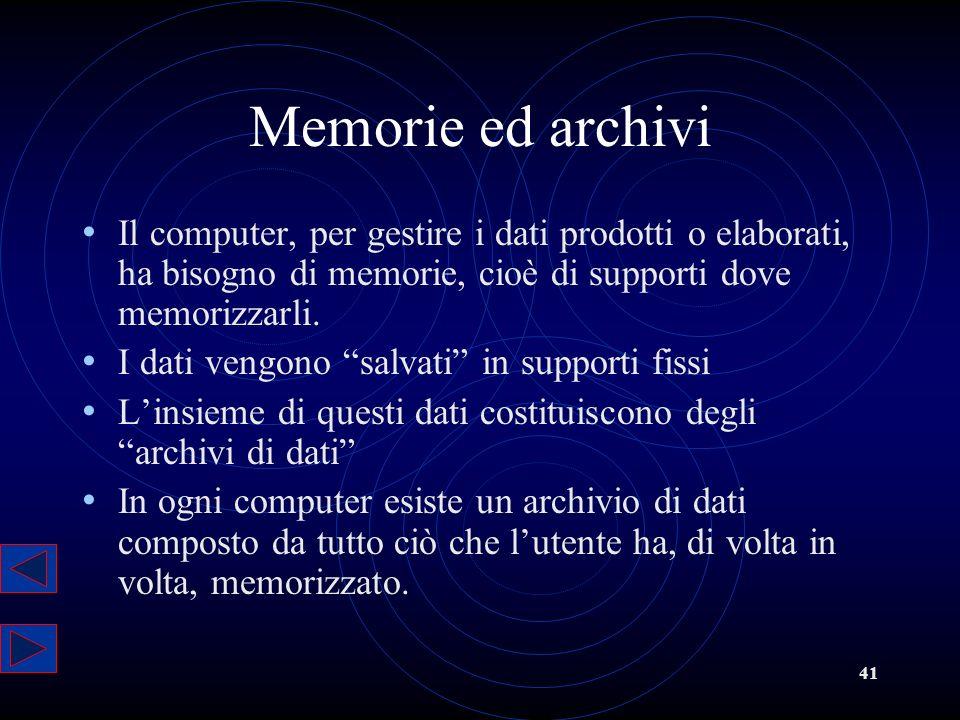 Memorie ed archivi Il computer, per gestire i dati prodotti o elaborati, ha bisogno di memorie, cioè di supporti dove memorizzarli.
