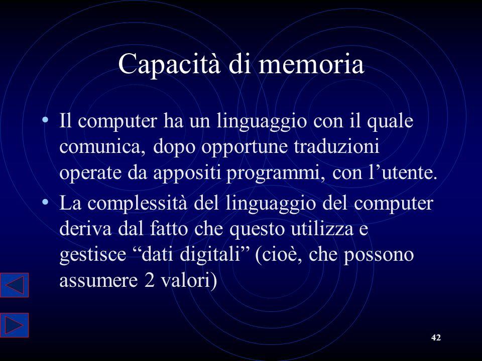 Capacità di memoria Il computer ha un linguaggio con il quale comunica, dopo opportune traduzioni operate da appositi programmi, con l'utente.