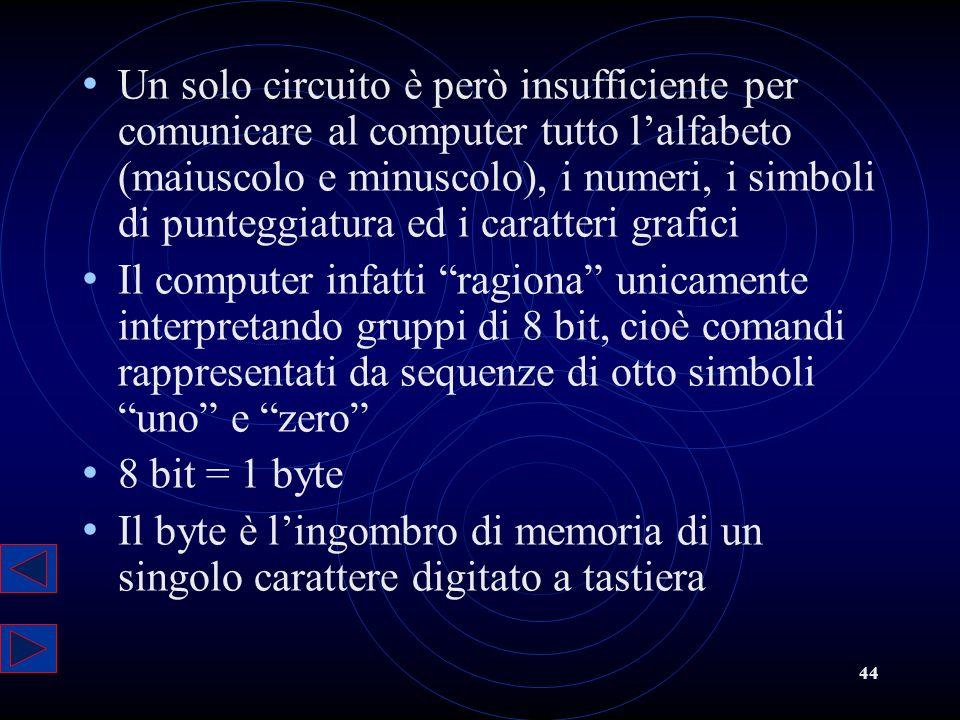 Un solo circuito è però insufficiente per comunicare al computer tutto l'alfabeto (maiuscolo e minuscolo), i numeri, i simboli di punteggiatura ed i caratteri grafici