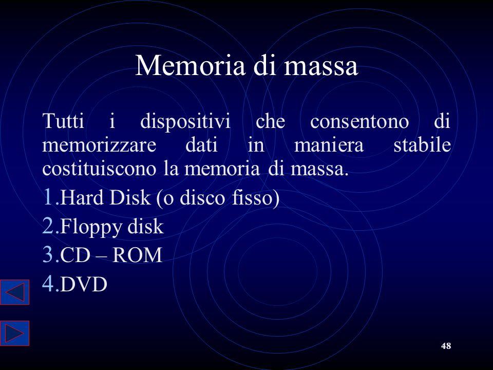 Memoria di massa Tutti i dispositivi che consentono di memorizzare dati in maniera stabile costituiscono la memoria di massa.