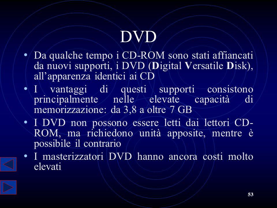 DVD Da qualche tempo i CD-ROM sono stati affiancati da nuovi supporti, i DVD (Digital Versatile Disk), all'apparenza identici ai CD.