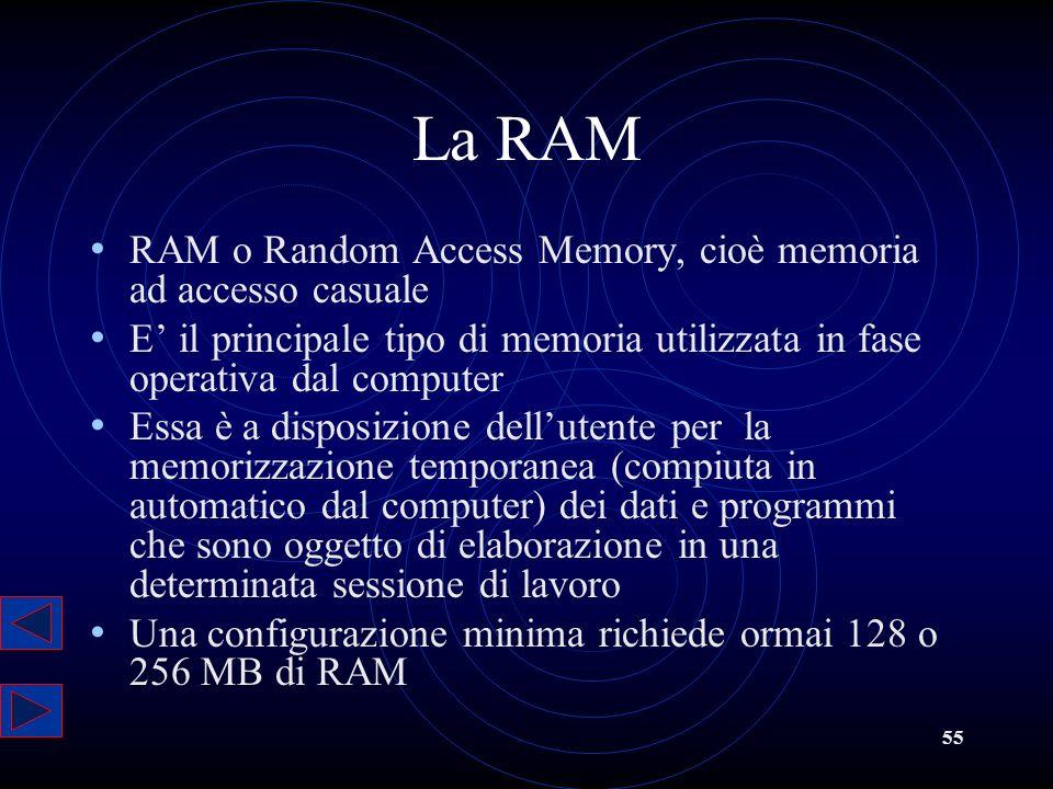 La RAM RAM o Random Access Memory, cioè memoria ad accesso casuale