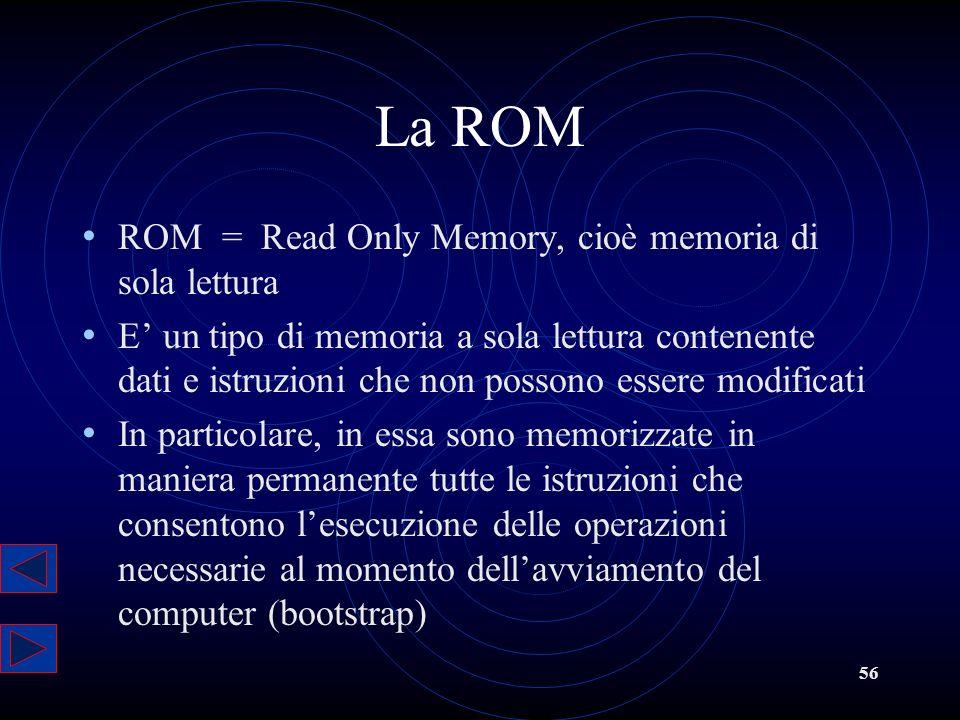 La ROM ROM = Read Only Memory, cioè memoria di sola lettura