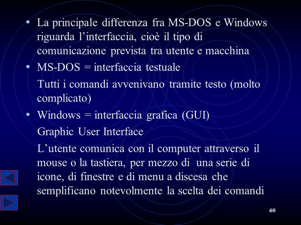 La principale differenza fra MS-DOS e Windows riguarda l'interfaccia, cioè il tipo di comunicazione prevista tra utente e macchina