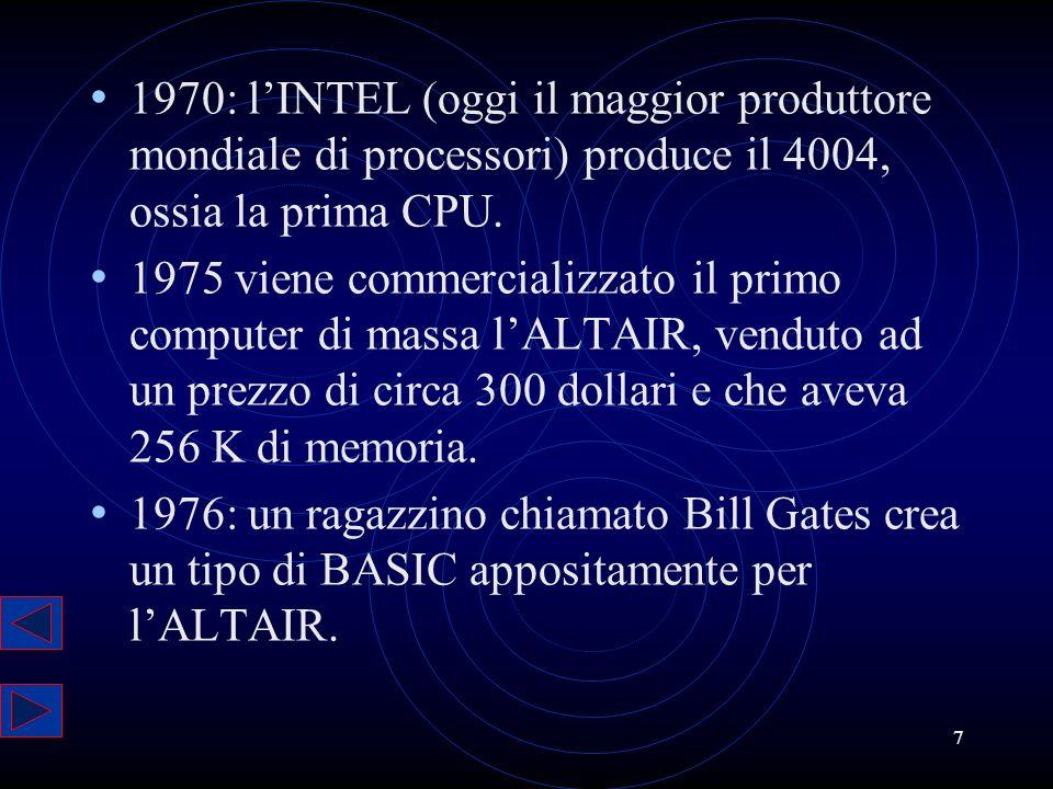 1970: l'INTEL (oggi il maggior produttore mondiale di processori) produce il 4004, ossia la prima CPU.