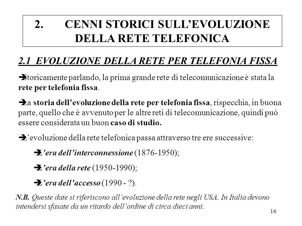 2. CENNI STORICI SULL'EVOLUZIONE DELLA RETE TELEFONICA