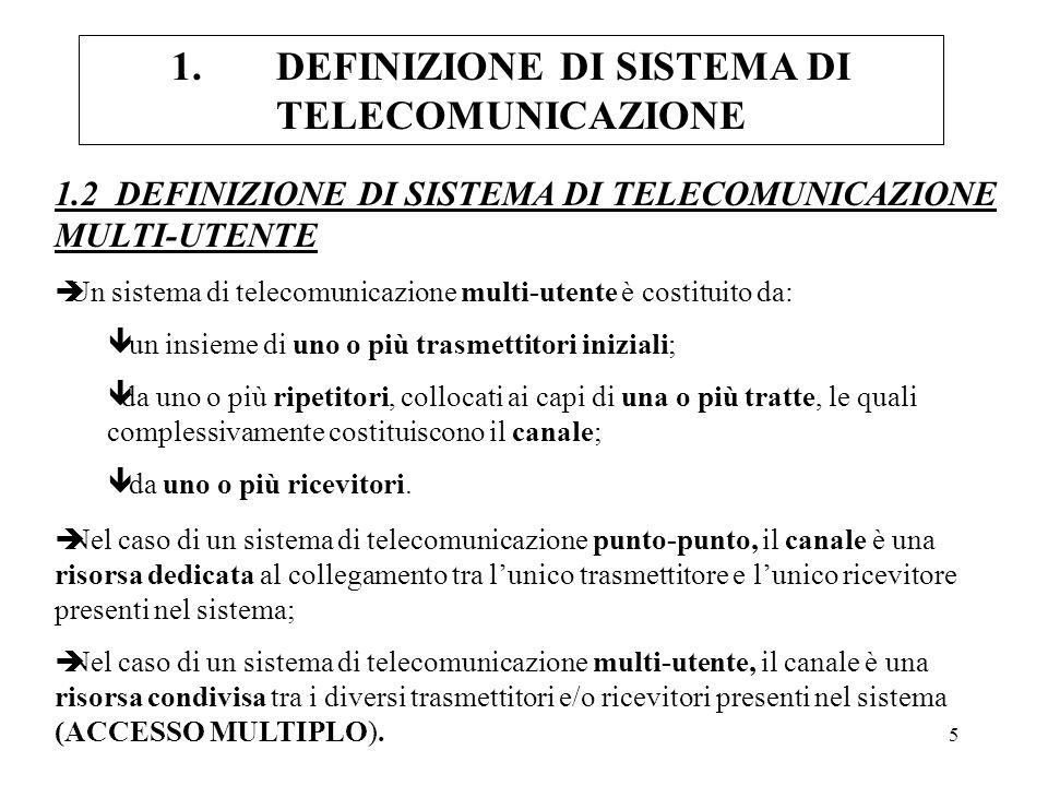 1. DEFINIZIONE DI SISTEMA DI TELECOMUNICAZIONE