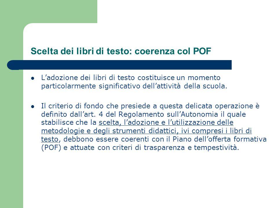 Scelta dei libri di testo: coerenza col POF
