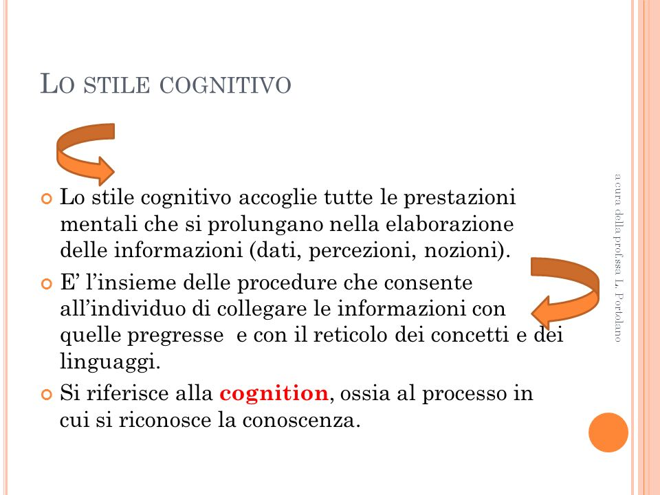 Lo stile cognitivo