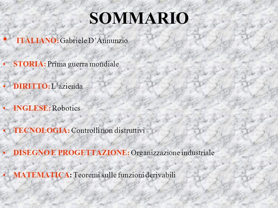 SOMMARIO ITALIANO: Gabriele D'Annunzio STORIA: Prima guerra mondiale