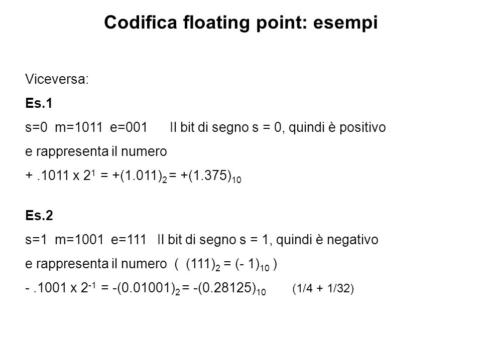 Codifica floating point: esempi