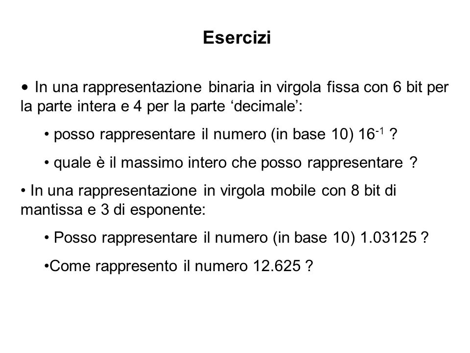 EserciziIn una rappresentazione binaria in virgola fissa con 6 bit per la parte intera e 4 per la parte 'decimale':