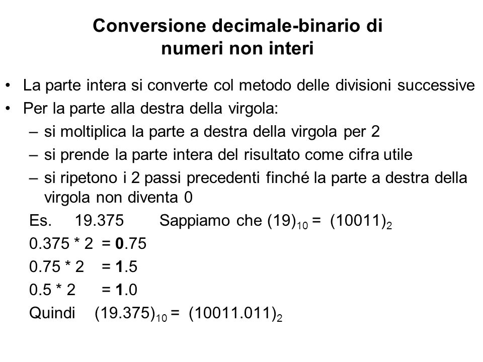Conversione decimale-binario di numeri non interi