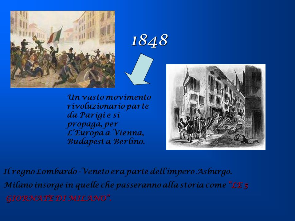 1848 Un vasto movimento rivoluzionario parte da Parigi e si propaga, per L'Europa a Vienna, Budapest a Berlino.