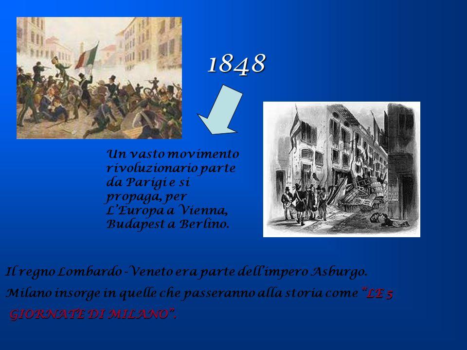 1848Un vasto movimento rivoluzionario parte da Parigi e si propaga, per L'Europa a Vienna, Budapest a Berlino.
