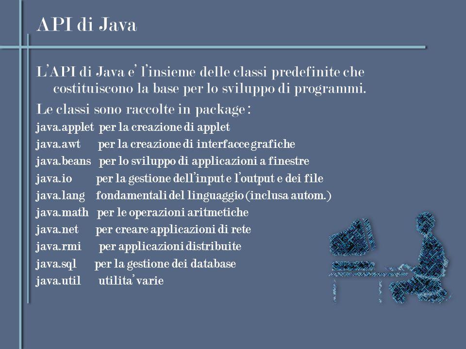 API di Java L'API di Java e' l'insieme delle classi predefinite che costituiscono la base per lo sviluppo di programmi.
