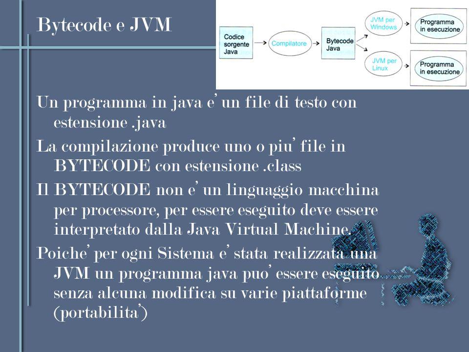 Bytecode e JVM Un programma in java e' un file di testo con estensione .java.