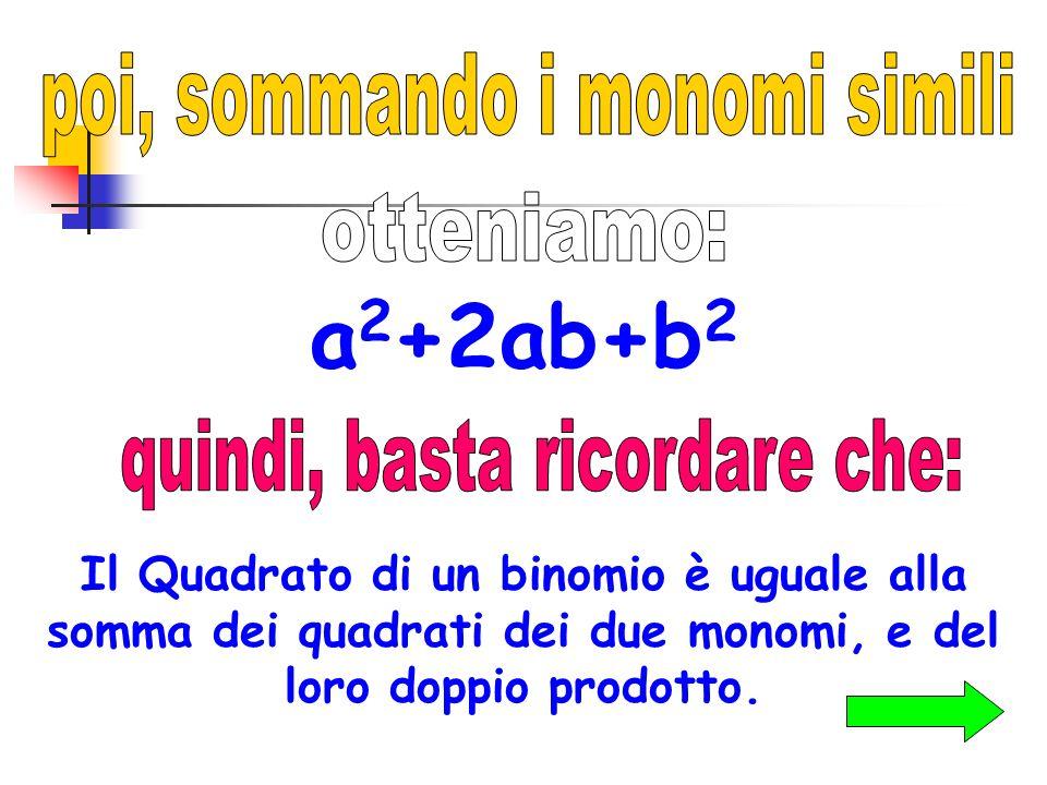 a2+2ab+b2 poi, sommando i monomi simili otteniamo:
